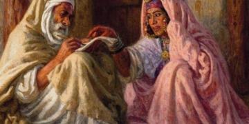 لوحة لنصرالدين دينيه حول انتقال الثقافة من جيل الى جيل